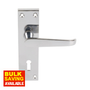 Victorian Straight Long Backplate Door Handle Lock Pair Polished Chrome