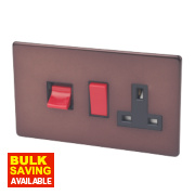 Varilight Mocha Cooker Panel with 45A Switch & 13A Switch Socket