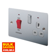 LAP 2-Gang 45A DP Cooker Switch & 13A Switched Plug Socket Neon Pol. Chrome