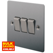 LAP 3-Gang 2-Way 10AX Light Switch Brushed Stainless Steel