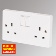 Crabtree Capital 13A 2-Gang Single Pole Switched Socket White