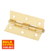 Steel Loose Pin Hinges Electro Brass 76 x 29mm Pack of 2