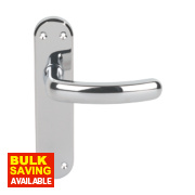 Serozzetta Shape Lever on Backplate Latch Pair Polished Chrome