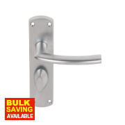 Serozzetta Dos Lever on Backplate WC Door Handle Pair Satin Chrome