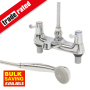 H & C ¼ Turn Dual Commercial Lever Bath / Shower Mixer Bathroom Tap