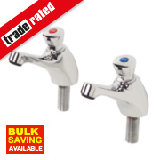 H & C Self-Closing Non-Concussive Bathroom Basin Taps Pair ½