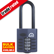 Squire Die-Cast Zinc All-Weather Combi Padlock Long Shackle Black 40mm