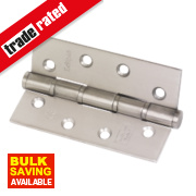 Grade 7 Washered Fire Hinges Satin Stainless Steel 102 x 67mm Pk2