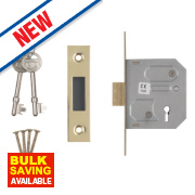 Smith & Locke 3-Lever Mortice Deadlock Electric Brass 2½