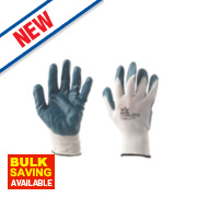 Nitrile-Coated Palm Gloves Blue Large