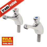 H and C Self-Closing Non-Concussive Bathroom Basin Taps Pair ½