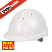 JSP EVO2 Mid Peak Slip-Ratchet Vented Safety Helmet White