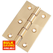 Double Phosphor Bronze Washered Hinges Polished Brass 76 x 51mm Pack of 2