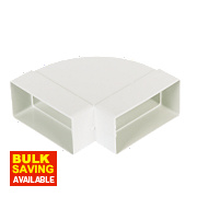 Manrose Rectangular 90° Horizontal Bend White 100mm