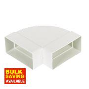 Manrose Rectangular 90° Horizontal Bend White 100mm