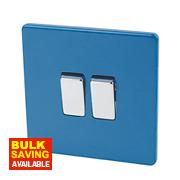 Varilight 2-Gang 2-Way 10AX Switch Cobalt Blue