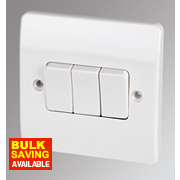 MK 3-Gang 2-Way Light Switch White