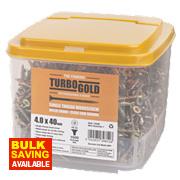 TurboGold Woodscrews Double Self-Countersunk 4 x 40mm Pk1000