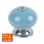 Traditional Ceramic Cabinet Door Knobs Chrome & Blue 42mm Pack of 2