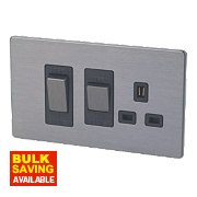 LAP 2-Gang 45A DP Cooker Switch & 13A Switched Plug Socket Slate Effect