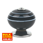 Traditional Ceramic Cabinet Door Knobs Chrome Black/White Stripes 42mm Pk2