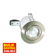 Robus Adjustable Round Fire Rated Downlight Brushed Chrome 240V