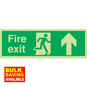 "Nite Glo ""Fire Exit"" Up Arrow Sign 150 x 450mm"