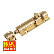 Straight Door Bolt Polished Brass 102mm