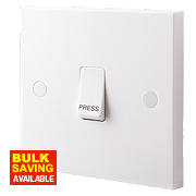 "British General 1-Gang 2-Way 10AX Light Switch with ""Press"" Text White"