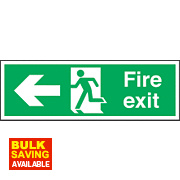 """Fire Exit"" Left Arrow Sign 150 x 450mm"