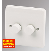 MK Logic Plus 2-Gang 2-Way Dimmer Switch Mains/Low Voltage 300W White