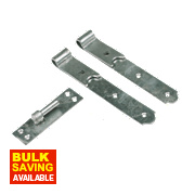 Gate Hinges Straight Hook & Band Pack Spelter Galvanised 50 x 610 x 165mm Pack of 2