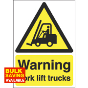 """Warning Fork Lift Trucks"" Sign 210 x 148mm"