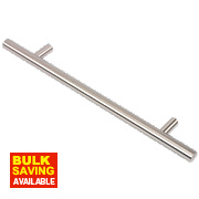 Fingertip Design Steel T-Bar Cabinet Door Handle Brushed Nickel 160mm