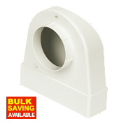 Manrose Round to Rectangular Appliance Connector Elbow 90° Bend White 204mm