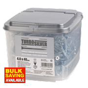 Turbo Silver Zinc-Plated Woodscrews Double Self-Countersunk 4 x 40mm Pk1000
