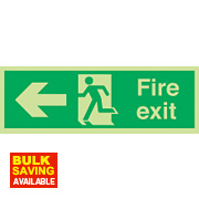 "Nite Glo ""Fire Exit"" Left Arrow Sign 150 x 450mm"