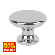 Traditional Classic Disc Knob Polished Chrome 30mm Pack of 2