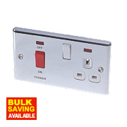 LAP 2-Gang 45A DP Cooker Switch & 13A Plug Socket w/ Neon Polished Chrome