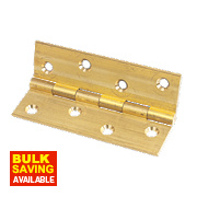 Solid Drawn Brass Hinge Self-Colour 102 x 60mm Pack of 2