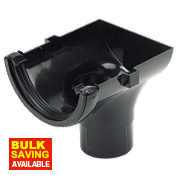 Half Round Stop End Outlet Black 112mm