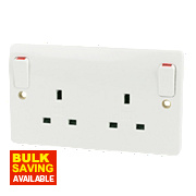 MK 13A 2-Gang DP Switched Plug Socket with Outboard Rocker White