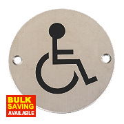 Disabled Sign Satin Stainless Steel 76mm