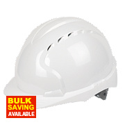 JSP EVO3 Comfort Plus Adjustable Slip Vented Safety Helmet White