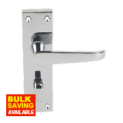 Long Backplate Straight WC Door Handle Pair Polished Chrome