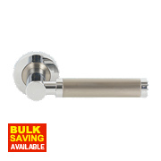 Jedo Nicola Twin Tone Lever on Rose Door Handle Pack Polished Chrome / Satin Nickel