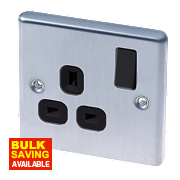 LAP 13A 1-Gang SP Switched Plug Socket Brushed Stainless Steel