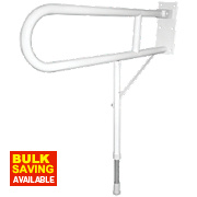 Elderly & Disabled Double Support Hinged Rail w/Leg White 310 x 100 x 720mm