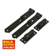 Gate Hinges Straight Hook & Band Pack Powder-Coated Black 40 x 254 x 140mm