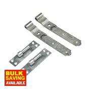 Gate Hinges Cranked Hook & Band Pack Spelter Galvanised 50 x 457 x 165mm